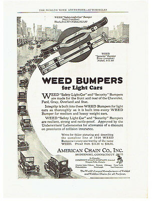 Vintage, Original, 1924 - Weed Bumpers for Light Cars Advertisement