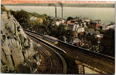 Horseshoe in Park on Palisades, View Edgewater, Hudson NY Vintage Postcard H15