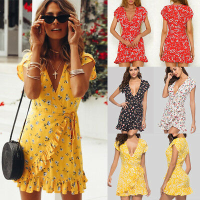 AU Womens V-neck Party Dress Ladies Floral Ruffle Summer Holiday Beach Size 6-20