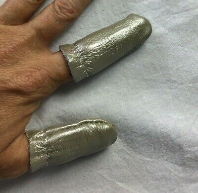 Silver Leather Finger Thimbles ~ Genuine Cowhide Leather ~ Thumb & Forefinger
