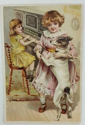 Victorian Trade Card Emerson Piano Co Little Girls Dog Piano 1891 Good Condition