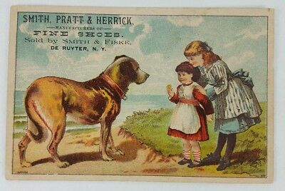 Vintage Victorian Trade Card Smith Pratt and Herrick Shoes 2 girls and a big dog