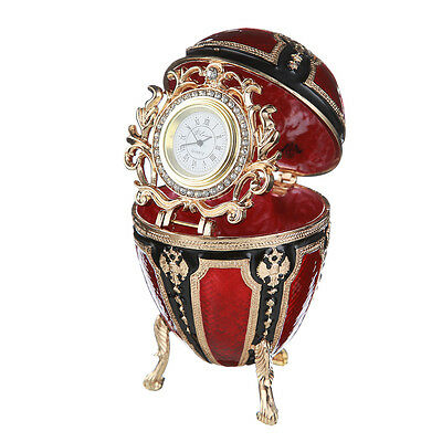 Faberge Egg / Trinket Jewel Box with Russian Coat of Arms & clock 4.3'' red