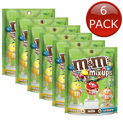 6 x M&M'S MIX UPS POUCH PEANUT MILK & CRISPY CHOCOLATE CHOC BAG TREATS M&MS 145g
