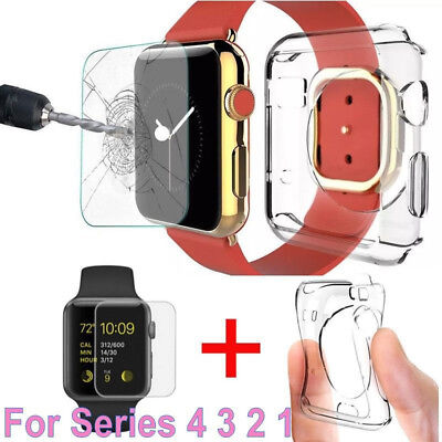 Soft TPU Clear Slim Case Cover + Tempered Glass for Apple Watch Series 4 40/44mm