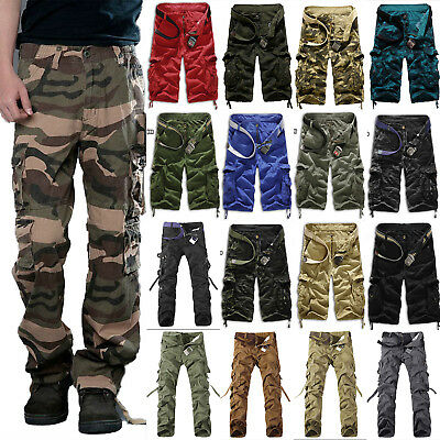 Mens Cargo Pants Combat Army Military Hiking Camo Shorts Outdoor Long Trousers