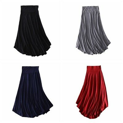 Women Fashion Elastic Solid High Waist Pleated Long Jersey Maxi Skirt Dress AU