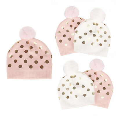 Newborn Baby Girl Infant Toddler Winter Warm Crochet Knit Fur Pom Cap Beanie Hat