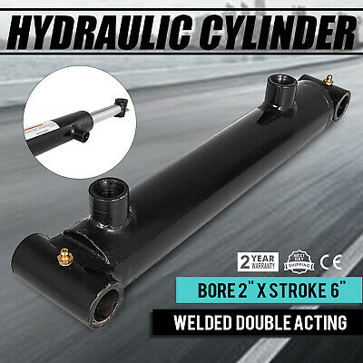 "Hydraulic Cylinder Welded Double Acting 2"" Bore 6"" Stroke Cross Tube 2x6"