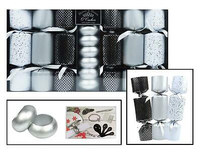 6 Christmas Crackers Luxury Silver Napkin Rings Christmas Novelty Tableware