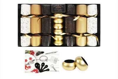 6 Christmas Crackers Luxury Gold Napkin Rings Christmas Novelty Tableware