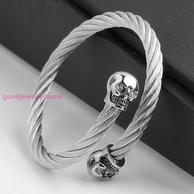 Charm 316L Stainless steel Fashion Mens Silver Bracelet Bangle 6MM Cuff Jewelry