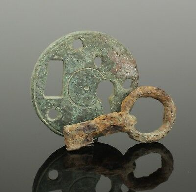 Ancient Roman Bronze Lock Plate And Key 2Nd Century Ad
