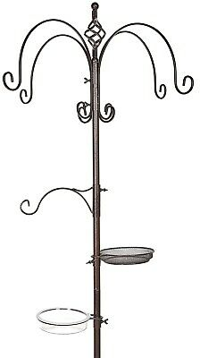 Copper Coloured Metal Garden Wild Bird Feeding Station for Hanging Bird Feeders