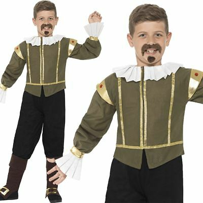 Shakespeare Costume Boys Historical Poet Fancy Dress World Book Day Week Outfit