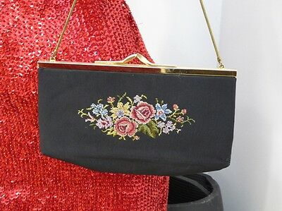 Gobelin Petit Point Handtasche Clutch Abendtasche Vintage Tracht EIN Golden Seal
