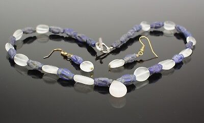 Ancient Lapis & Rock Crystal Bead Necklace & Earrings Set C 2000Bc