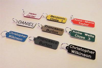 Engraved Mini name tags, keyrings set of 4 perfect for school bags, keys etc