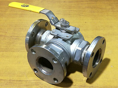 "316 Stainless Steel 3 Way L Bore 2"" BSP Ball Valve with Flange 110025T"