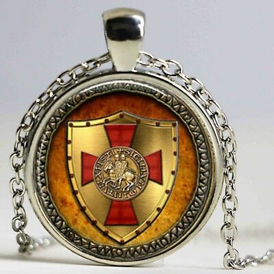 The Knights Templar Two Riders Cross Viking Medieval Talisman Pendant Necklace