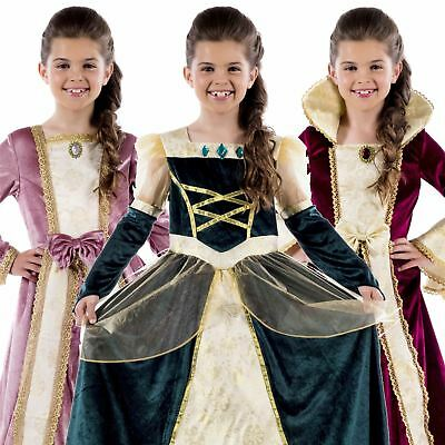 New Girls Royal Ball Gown Medieval Queen Fancy Dress Costume Book Week Outfit