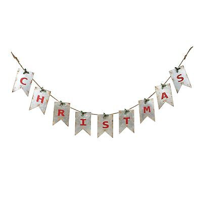 Christmas Distressed White Pennant with Red Letters 67.5 x 7 Galvanized M... New