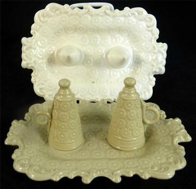 N730 C1840 Antique Stoneware Salt Glaze Candle Snuffer On Stand + Spare Stand