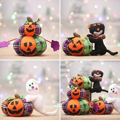KQ_ Halloween Decoration Cloth Pumpkin Cat Ghost Plush Toy Party Ornament Gift M
