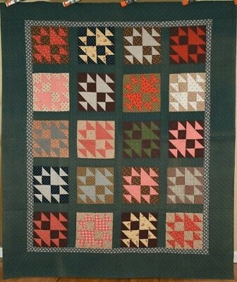 "GORGEOUS Vintage 1870's ""Fox & Geese"" Double X Quilt ~AMAZING ANTIQUE FABRICS!"
