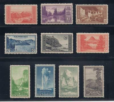 1934 National Parks - Set Of 10 U.s. Postage Stamps - Mint Condition