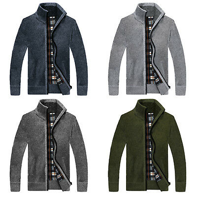 Mens Winter Autumn Knitted Cardigan Classic Zip Up Thick Flannel Fashion Jumper