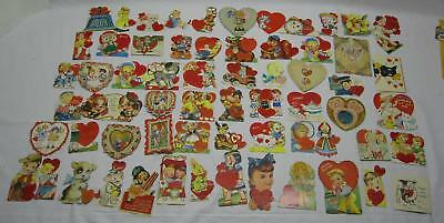Lot of 63 Vintage Valentines Day Cards Die Cut Antique Old Used