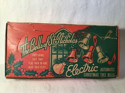 Vintage 1950s The Bells of St Nicholas 4 Electric Automatic Christmas Tree Bells