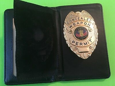 CONCEALED CARRY BADGE &  Quality LEATHER WALLET  - QUALITY BADGE