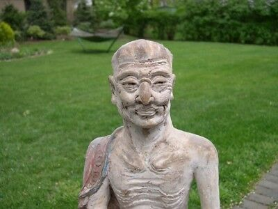 Two Antique Chinese Buddhist Buddha Lohan Statues Ming Dynasty Rare Cave Art