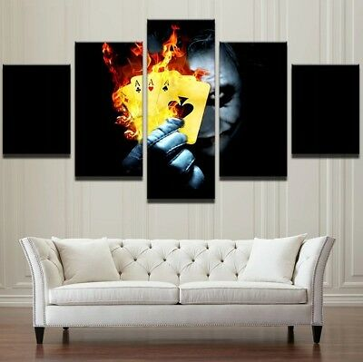 5 Pcs Batman Joker Flame Poker Painting Poster Canvas Print Wall Art Home Decor
