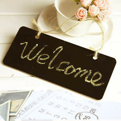 Vintage Wooden Hanging Blackboard Signs Message Memo Chalk Board 23x17cm #2