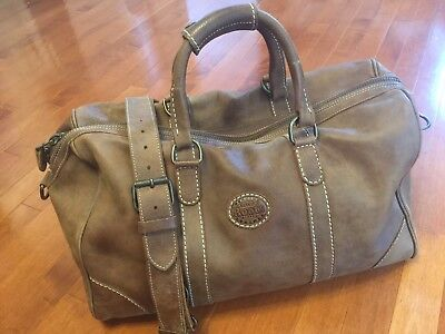 93c938b614 Roots Canada Brown Tribe Leather Travel Banff Duffel Weekender Carryon Bag