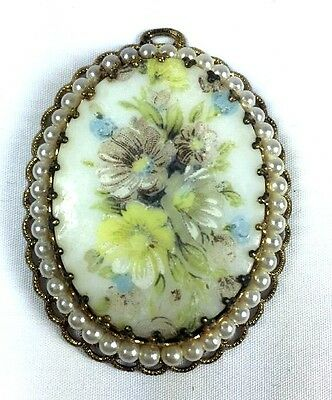 Vintage Victorian Hand painted Soft Floral Resin Oval Filigree Gold Tone Pendant