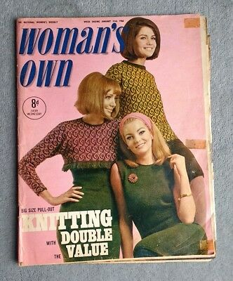 Womans Own Magazine January 1966 David Mccallum Man From Uncl Knitting Ephemera