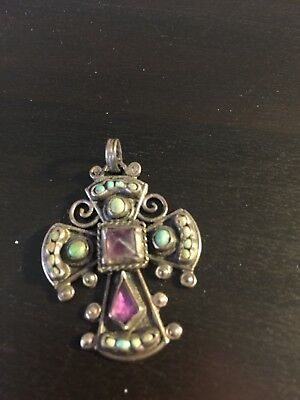 Vintage Silver Cross With Stones 1.5""