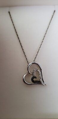 Kay Jewelers Sterling Silver Heart Necklace with Black & Clear Diamonds