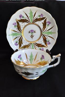 Gorgeous Royal Chelsea Bone China Wide-Mouth Teacup/Saucer Purple Thistles #333