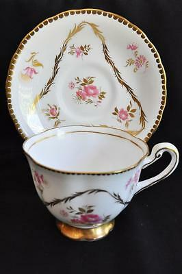 Lovely Royal Chelsea Bone China Teacup & Saucer England Delightful Pink Blossoms