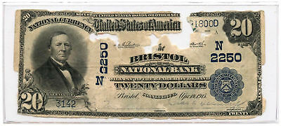 1902 $20 Banknote Plain Back The Bristol National Bank Bristol, CT Ch #2250