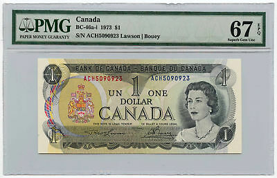 1973 Bank of Canada $1 Note BC-46a-i PMG Superb Gem UNC 67 EPQ