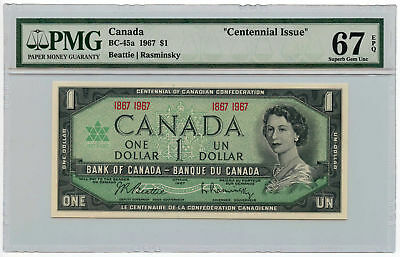 "1967 Bank of Canada $1 Note BC-45a PMG Superb Gem UNC 67 EPQ ""Centennial Issue"""