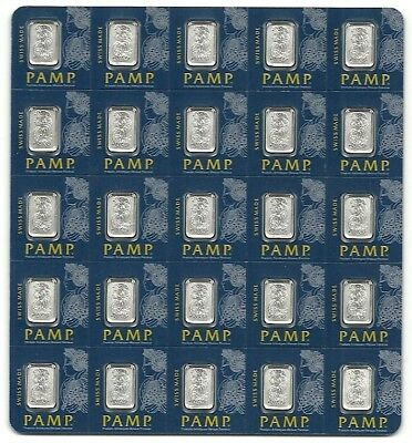 25 x 1 gram Platinum Bar PAMP Suisse Fortuna Multigram+25 (In Assay)