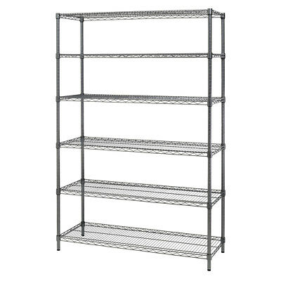 Alera Commercial Wire Shelving Six-Shelf Black Anthracite SW664818BA NEW