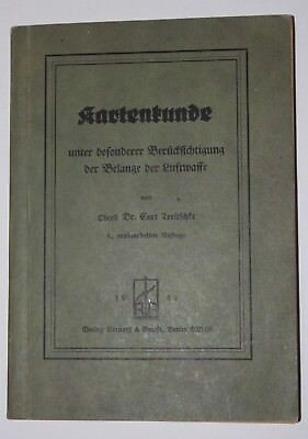 Vintage WWII Germany German Military Manual 1942 Air Force Cartography Book